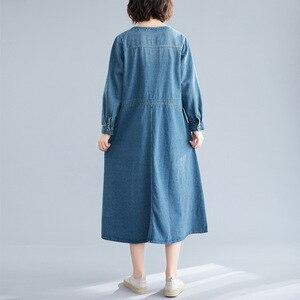 Image 4 - Johnature Autumn Korean Solid Color Patchwork Pockets V neck Cotton Jean Dress 2020 New Casual Vintage Long Sleeve Women Dresses