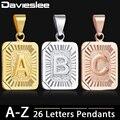 Подвеска с буквой инициала для женщин, подвеска с буквой A J Z золотого цвета, Женское Ожерелье Davieslee, модные ювелирные изделия GPM05
