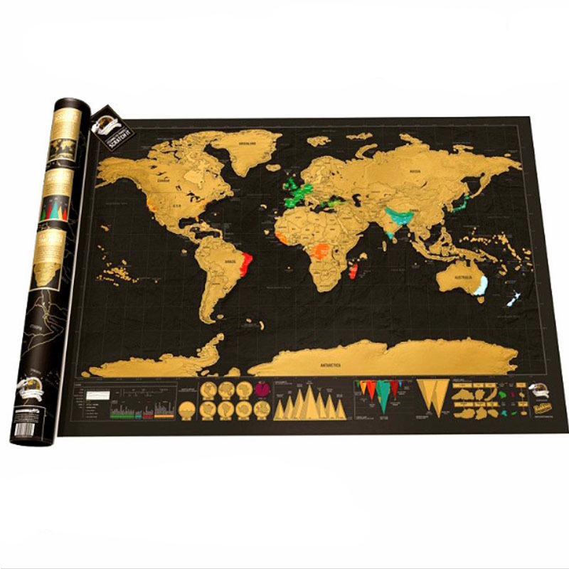 42*30cm Scratch Map Design Black Deluxe Maps Traveler Scratch Off World Best Gift For Education School Office image