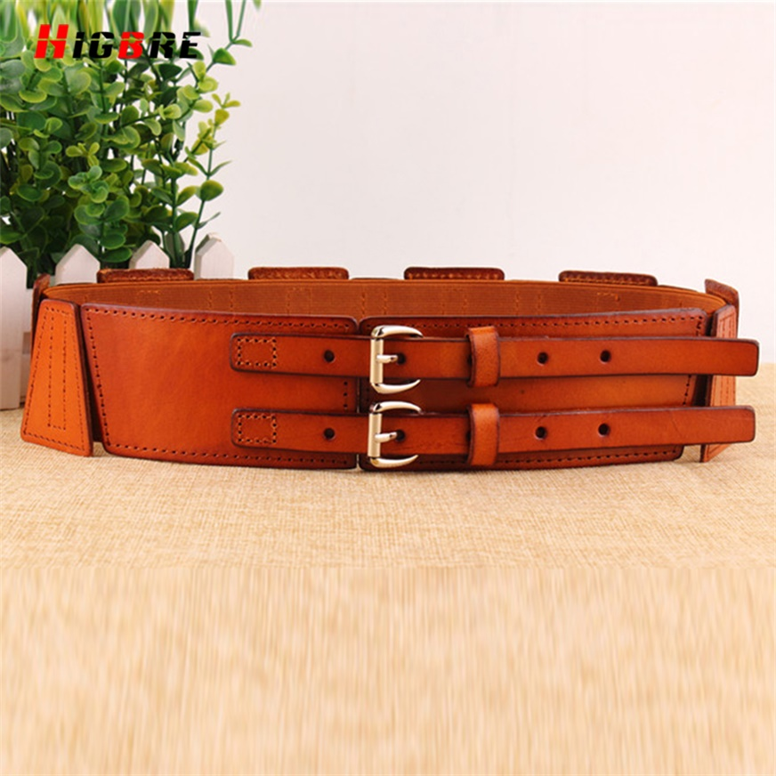 HIGBRE Women Cummerbunds Metal Waist Belt Double Buckle Genuine Leather Wide Belt Female For Dresses Cinto Feminino Largo