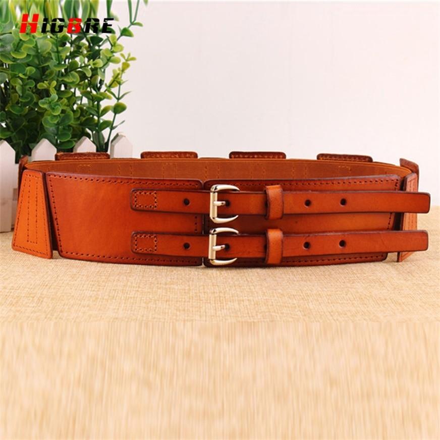 HIGBRE Women Cummerbunds Metal Waist Belt Double Buckle Genuine Leather Wide Belt Female For Dresses Cinto Feminino Largo