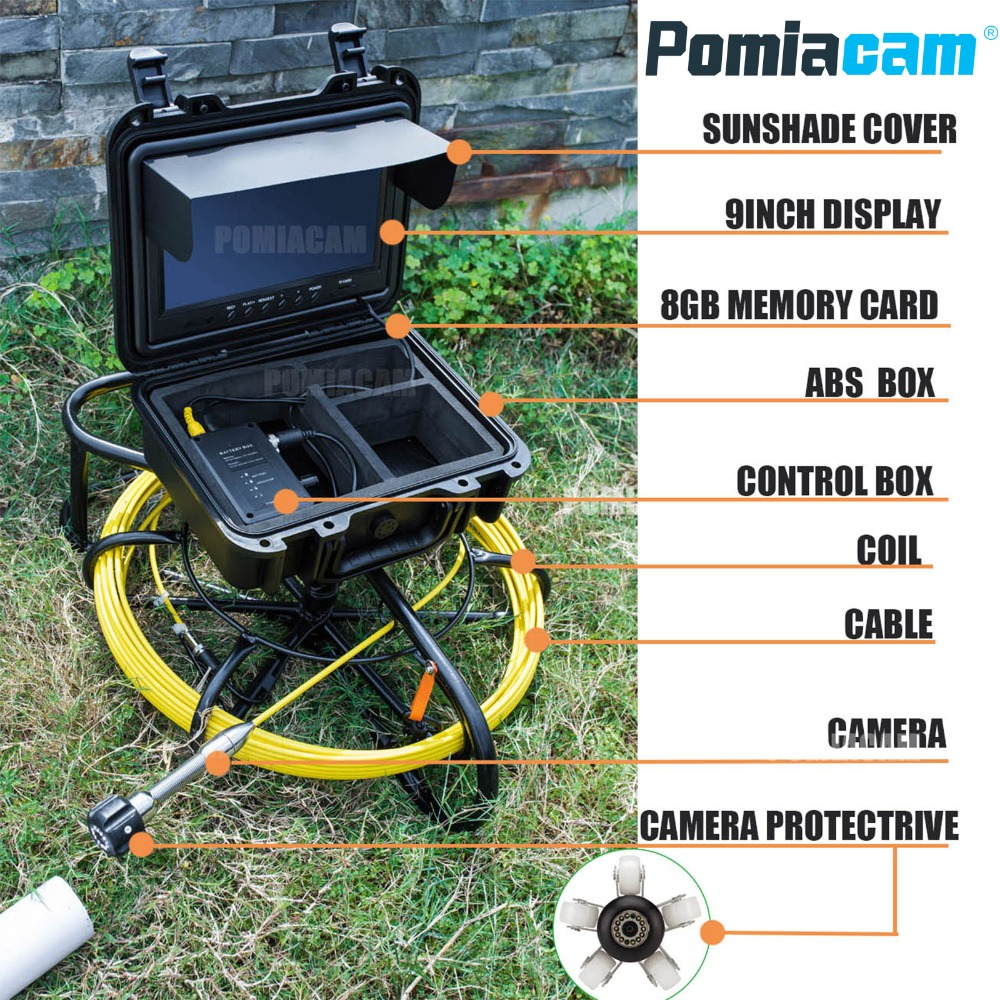 WP9600 50m 164FT Cable 9 inch display Live sewer inspection system Endoscope Waterproof Inspection Pipe Camera for pipe dhl free wp90 50m industrial pipeline endoscope 6 5 17 23mm snake video camera 9 lcd sewer drain pipe inspection camera system