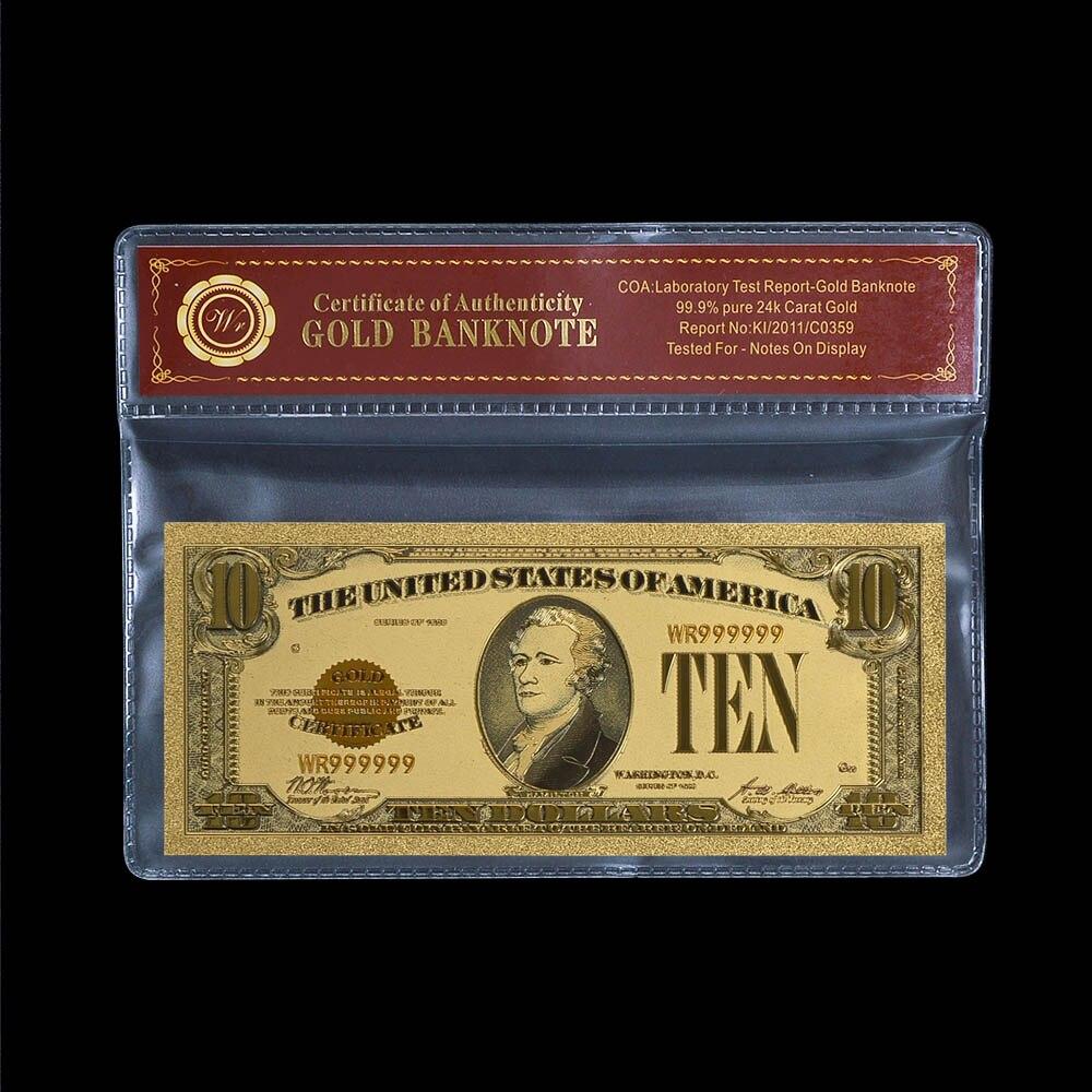WR Art Crafts Amerikanischen Gold Banknote Bunte 10 Dollar Banknote ...