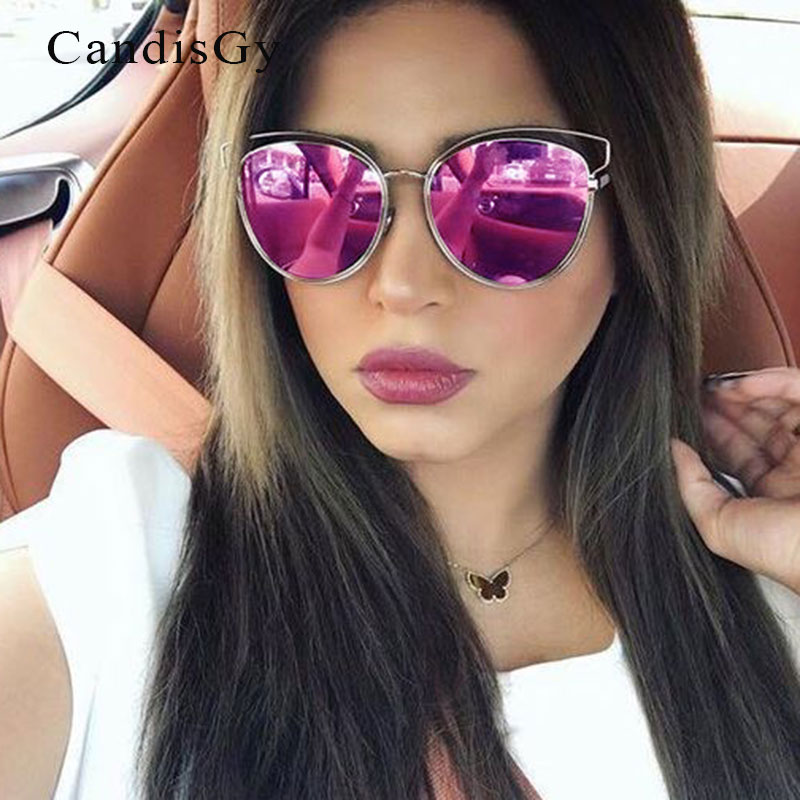 Beach Summer Good Quality 2016 New Italy Brand Sunglasses Sideral Hollow Temple Women Vintage Cat Eye Miror UV400 Sun Glasses