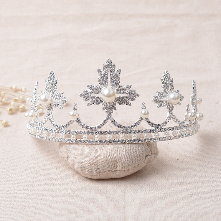 Newest Wedding Crystal Faux Pearl Tiara Crowns Princess Queen Pageant Rhinestone Veil Tiara Headband Wedding Hair Accessory in Hair Jewelry from Jewelry Accessories