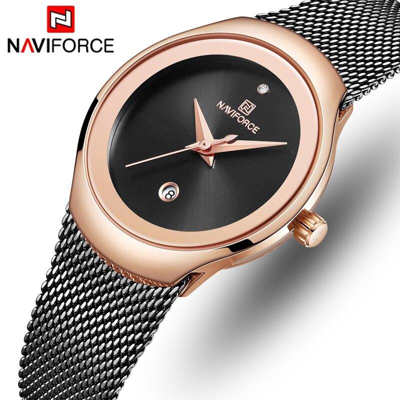 NAVIFORCE Топ люксовый бренд женские часы женские модные простые Кварцевые часы Женские Классические из нержавеющей стали сетчатый ремень нару