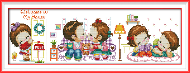 Cross Stitch Cartoon Welcome To My House Printed On Canvas DMC 11CT 14CT  Cross Stitch