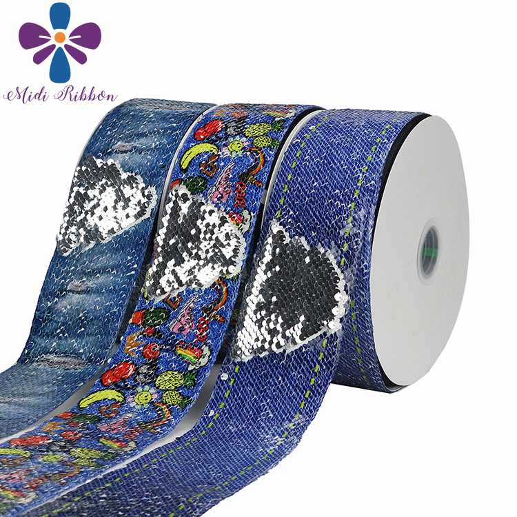 3 75mm Jeans Series Fruits Banana Pineapple Printed Double Reversible Silver Sequin Ribbon DIY Hair Bowknots