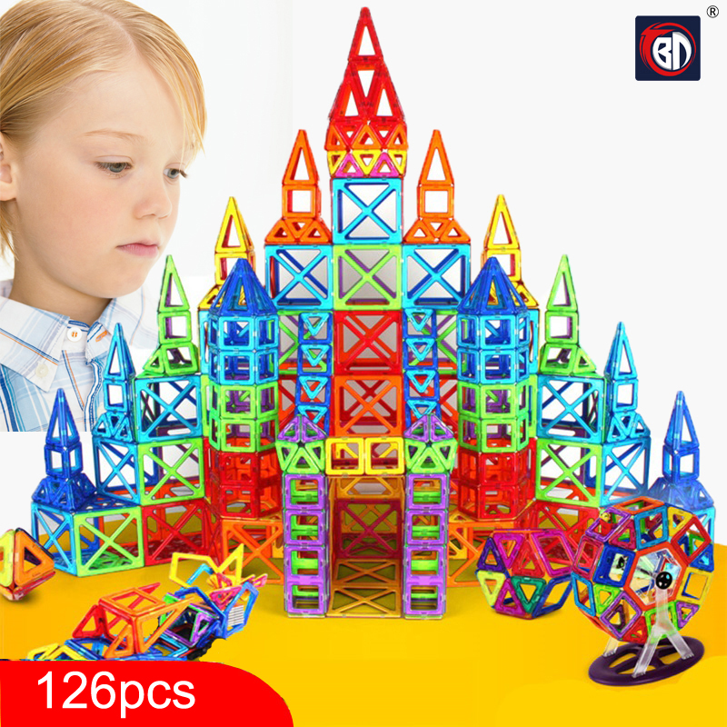 New 126pcs Mini Magnetic Designer Construction Set Model & Building Toy Plastic Magnetic Blocks Educational Toys For Kids Gift 62pcs set magnetic building block 3d blocks diy kids toys educational model building kits magnetic bricks toy