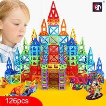 Nova 126 pcs Mini Magnetic Conjunto Modelo de Construção Designer & Brinquedo de Construção de Plástico Blocos Magnéticos Brinquedos Educativos Para Crianças Presente