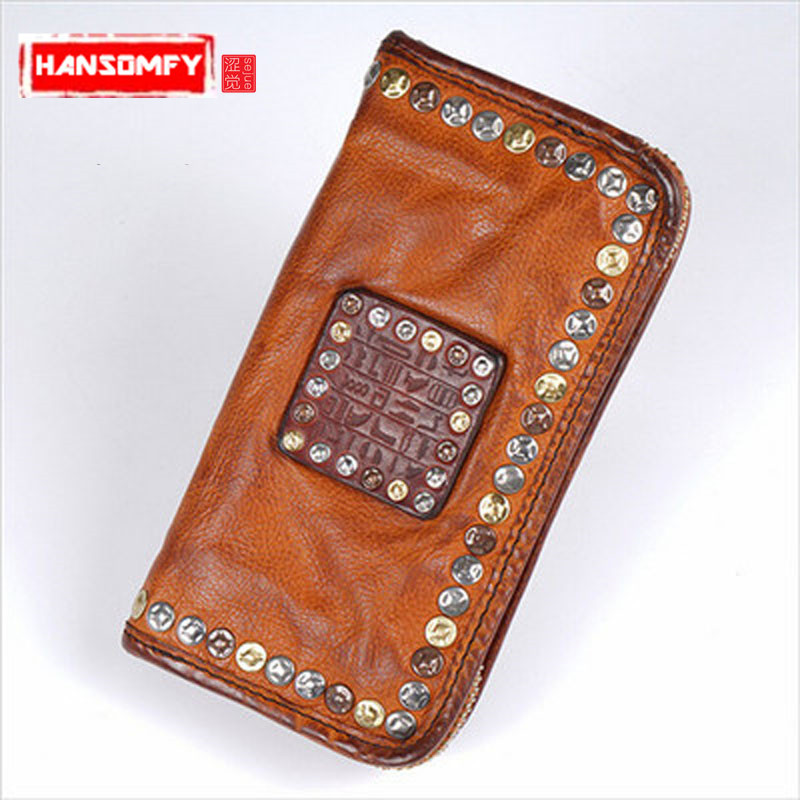 Genuine leather Mens wallet cowhide handbag womens cell phone handbag handmade leather tide zipper rivet long retro walletsGenuine leather Mens wallet cowhide handbag womens cell phone handbag handmade leather tide zipper rivet long retro wallets
