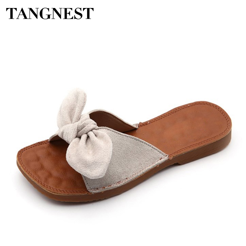 Tangnest Fashion Bowtie Women Slippers Summer Outside Soft Flock Women Sandals Solid Non-slip Lady Beach Slides XWT1086