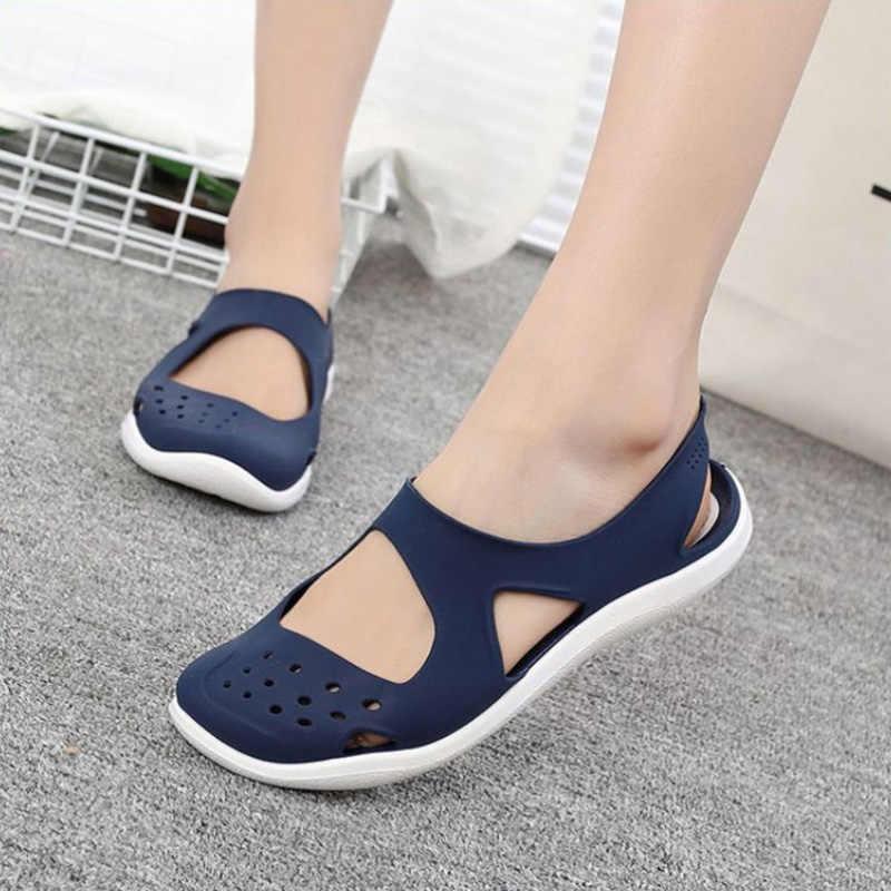 MCCKLE yaz kadın sandalet yumuşak düz Slip On kadın rahat jöle ayakkabı kız sandalet Hollow Out Mesh Flats plaj ayakkabı yeni