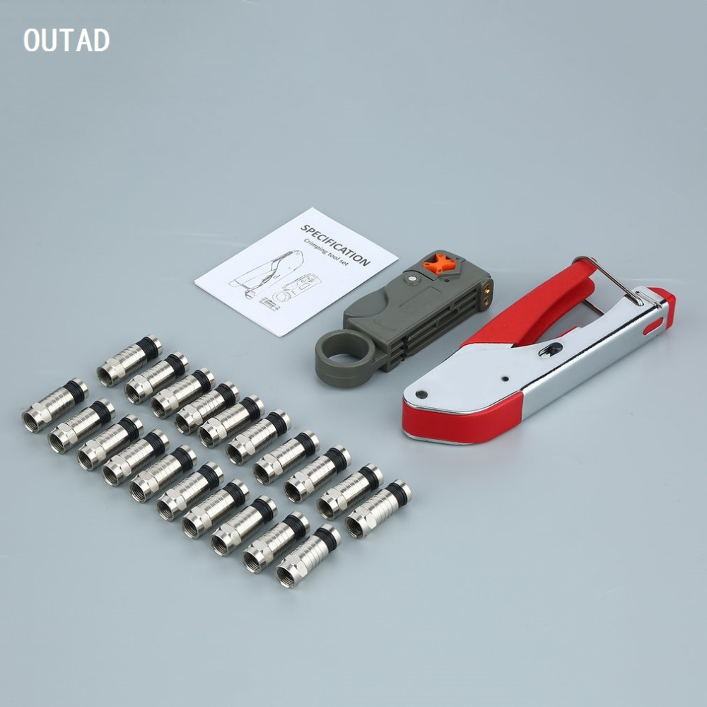 OUTAD 1 set Coaxial Cable Wire Stripper Compression F Connector Tool Crimping Pliers Extrusion Pliers Wire Stripping Pliers Kit