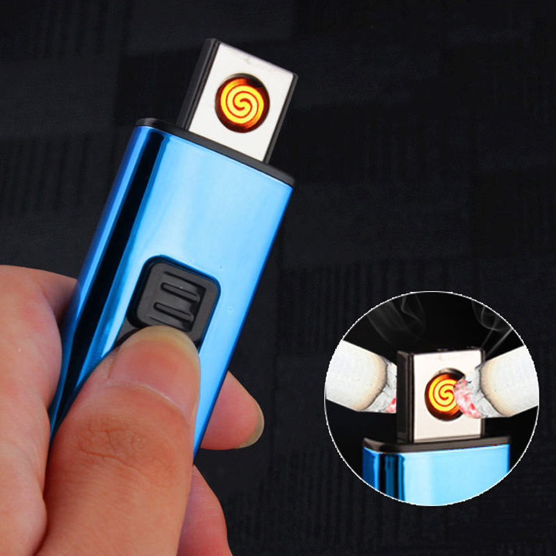 Electroplating Mini Small Double-sided Cigarette Lighter USB Rechargeable Windproof Light