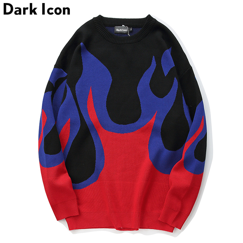 DARK ICON Flame Sweater Men 2019 Winter Pullover Loose Style Men's Sweaters Hip Hop Sweater Streetwear Clothing