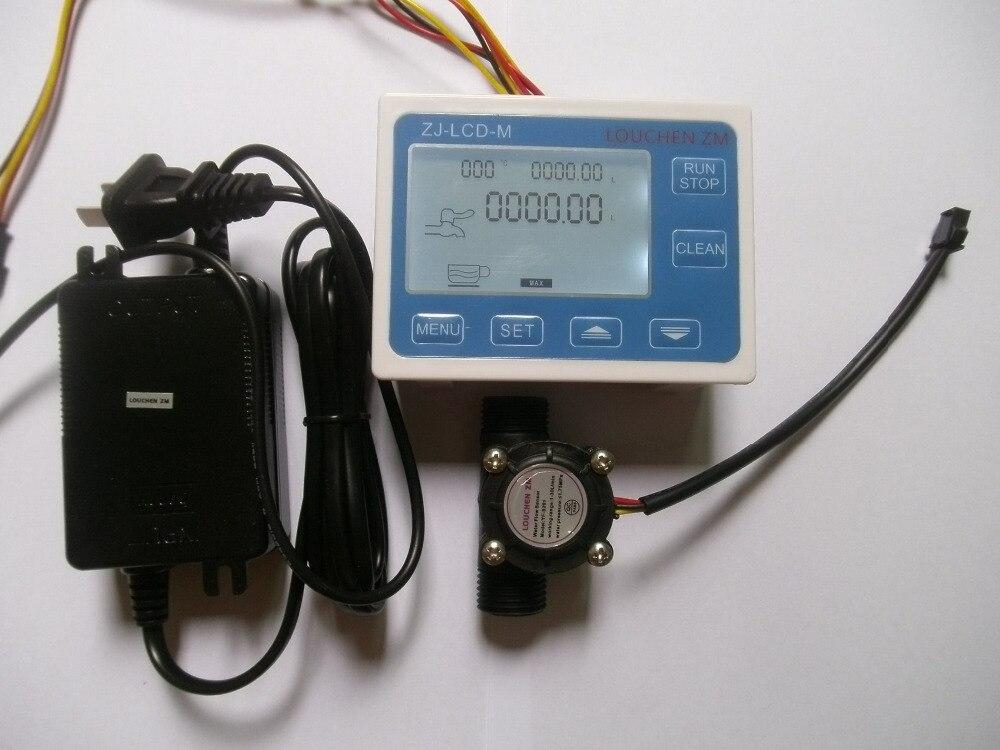 Effetto Hall G1/2 Flusso Acqua Sensore Tester + Digital Display LCD controller + 24 V adattatore di alimentazioneEffetto Hall G1/2 Flusso Acqua Sensore Tester + Digital Display LCD controller + 24 V adattatore di alimentazione