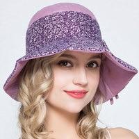 الفتيات الصيف شاطئ جميل bowknot الزهور الصياد قبعة سيدة الشمس قبعات النساء أزياء القطن دلو القبعات