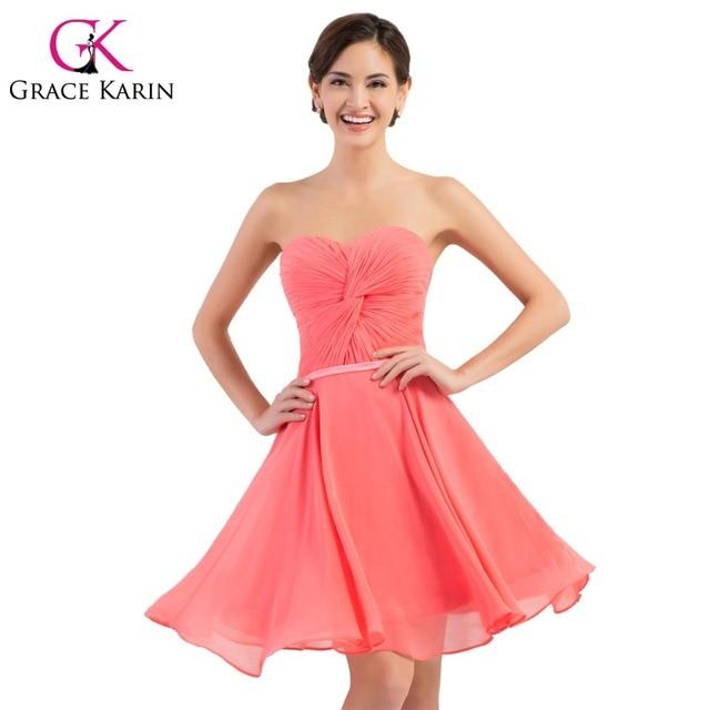 Grace Karin Bridesmaid Dresses Short Sweetheart Watermelon Red Knee ...