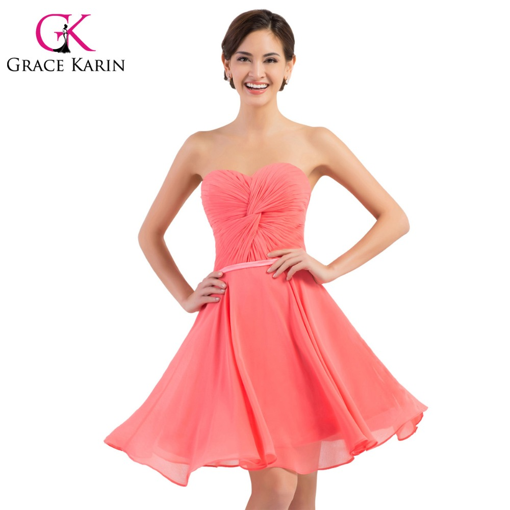 Online get cheap watermelon bridesmaid dresses aliexpress grace karin bridesmaid dresses short sweetheart watermelon red knee length chiffon short prom party gowns bridesmaid ombrellifo Images