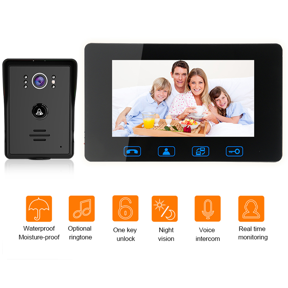 7 Inch Wired Video Door Phone Intercom lcd Digital Doorbell Door Phone Camera Wired Waterproof Intercom Monitor Doorbell Support 3v3 7 inch monitor water proof ip66 wired intercom video door phone