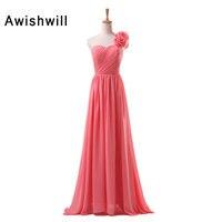 2018 Long Cheap Bridesmaid Dresses One Shoulder Floor Length Floral Chiffon A Line Vestido De Madrinha