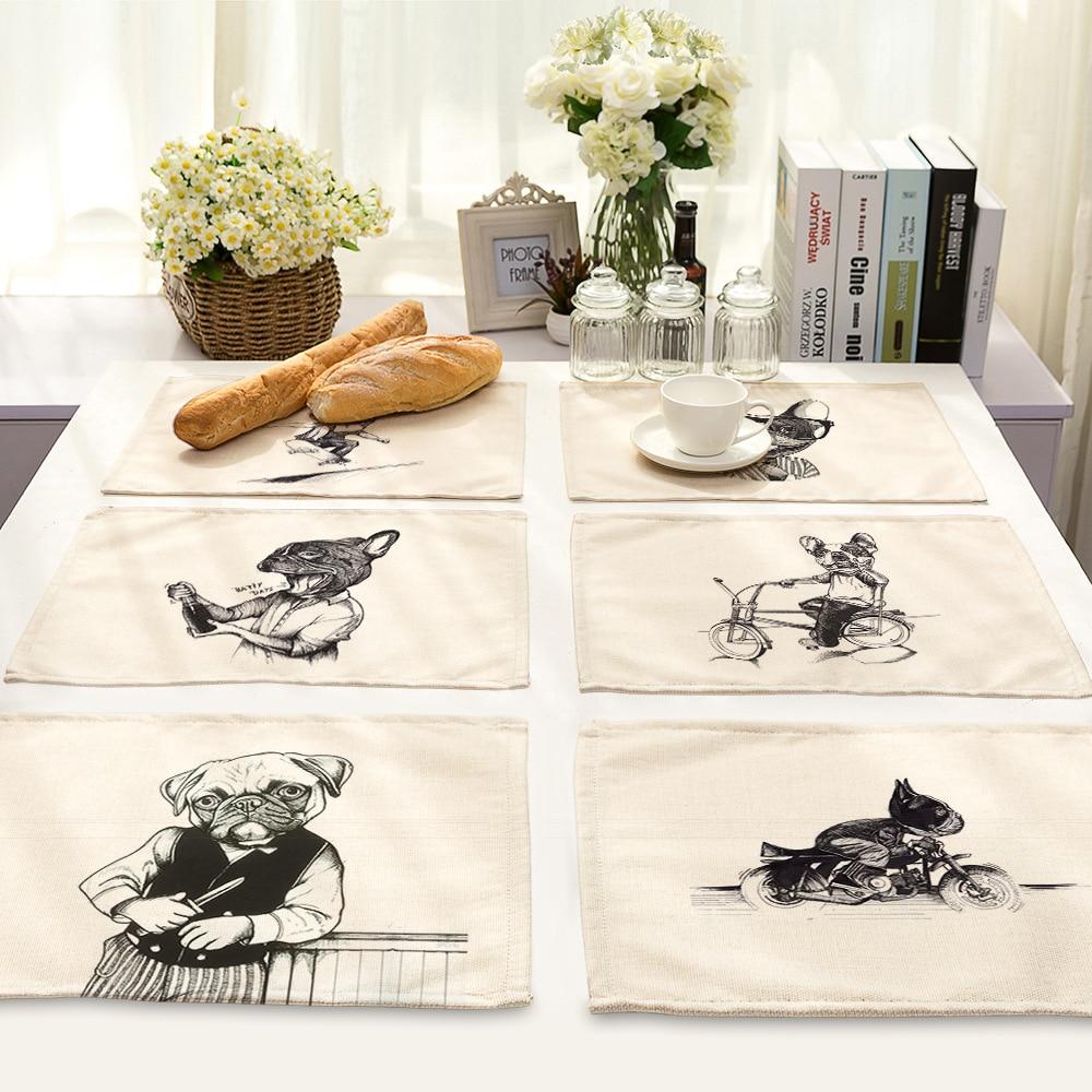 CAMMITEVER 2PCS Black White Animal Placemat Dining Table Mats Set De Table Bowl Pad Napkin Dining Table Tray Mat Kids Table Set