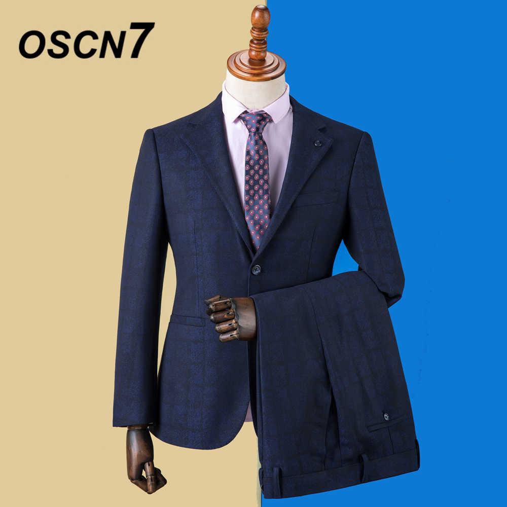 OSCN7 青のチェック柄カスタムメイドスーツ男性スリムフィットウェディングパーティーメンズオーダーメイドスーツファッション 3 ピースブレザーパンツベスト DM-025