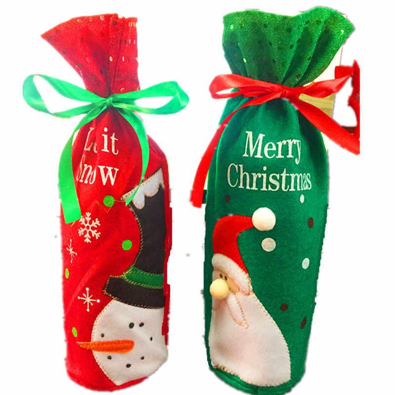 1Pcs Leuke Rode Wijn Fles Cover Zakken Kerstman Diner Tafel Decoratie Thuis Party Decor Kerst Decoratie 5ZHH114