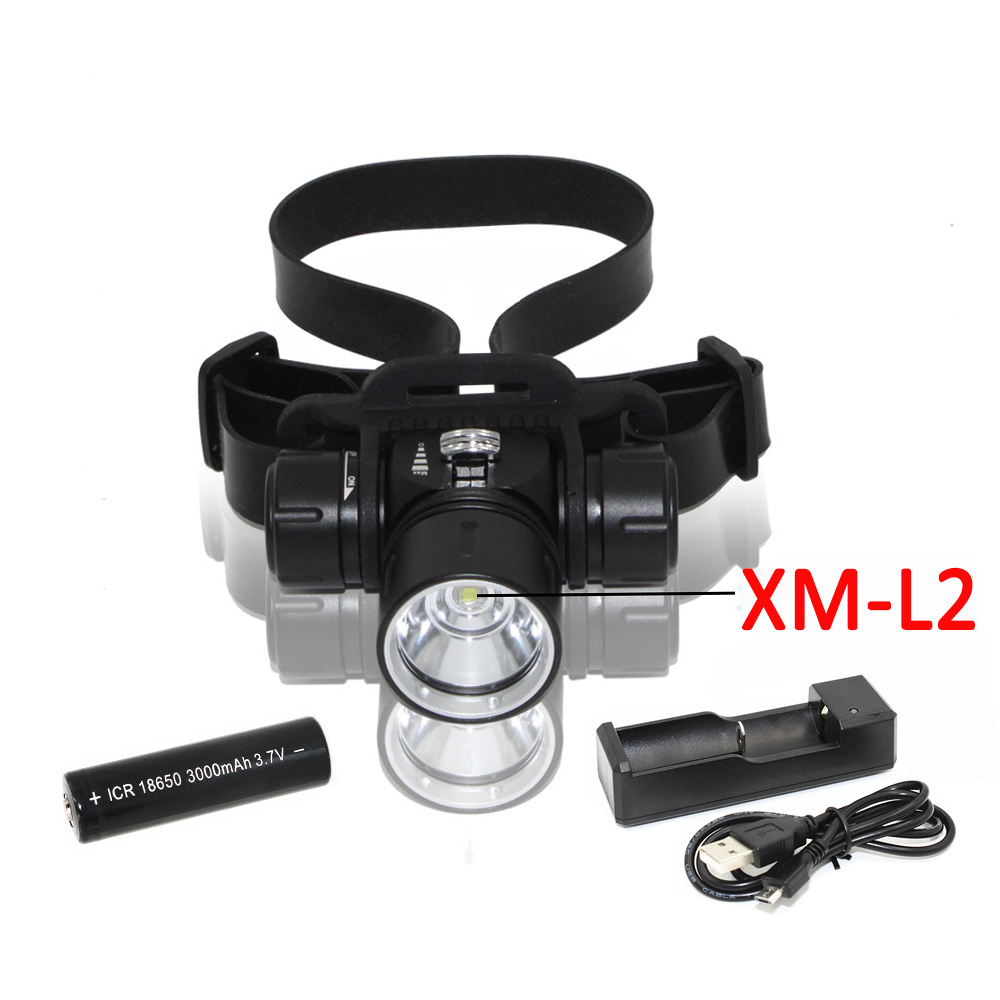 Underwater Waterproof Diving Flashlight Headlight XM-L2 LED 1200 Lumens Torch Head Light Use 18650 Li-ion Battery