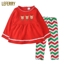 Baby Girls Clothing Sets Cotton Infant Spring Autumn Boutique Newborn Clothes Red Dresses + Striped Legging
