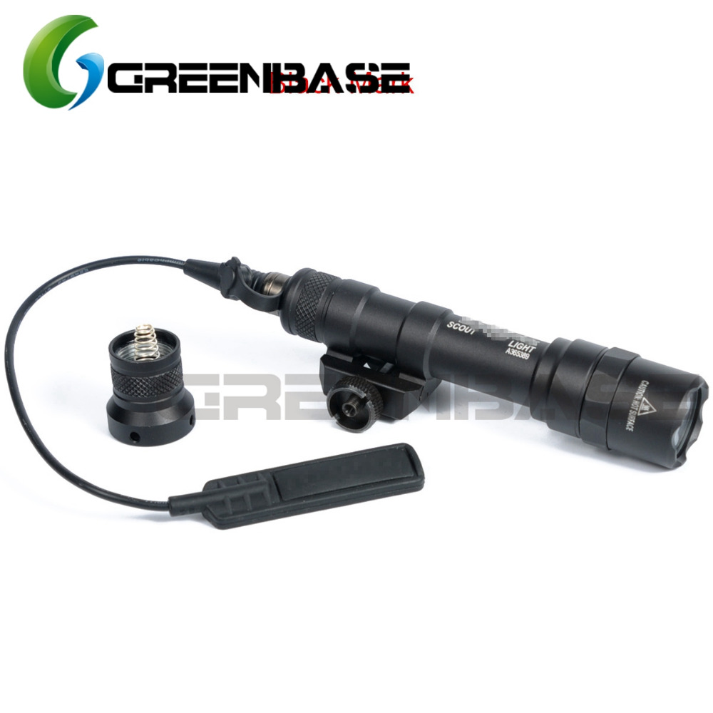 Greenbase SF M600B Tactical Gun Pistol M600 Flashlight Mini Scout Light LED CREE Flashlight Weaponlight With Remote Tail Switch tactical flashlight with tail switch m300b mini scout light new version light black de