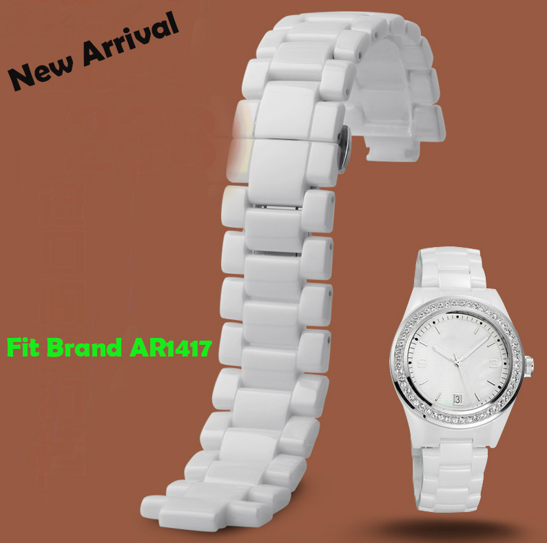 New 22mm White Ceramic Watch Band Strap Bracelet Replacement Strap For AR1417