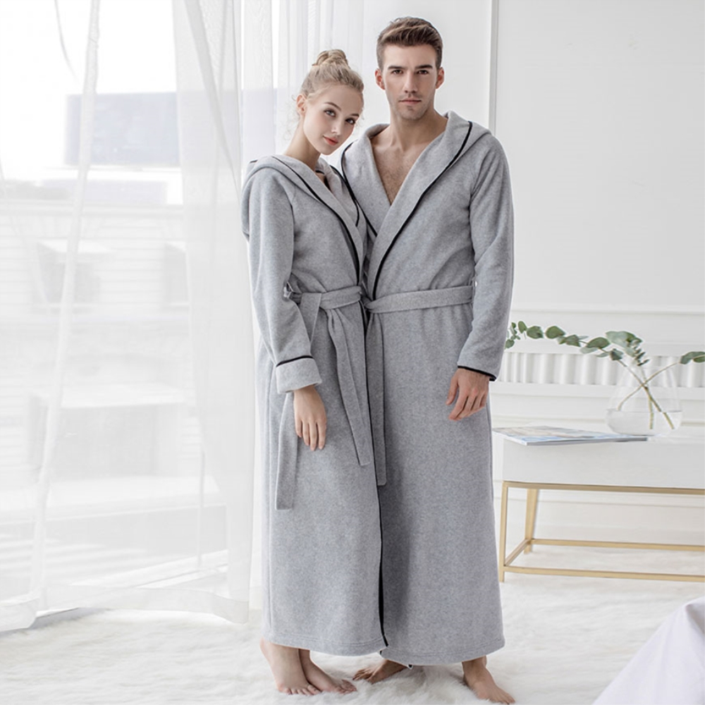 Microfiber Fleece Bathrobe Hooded Ultra Long Robes Loungewear Female & Men Sleepwear Plus Size Nightgowns Couples Dressing Gown