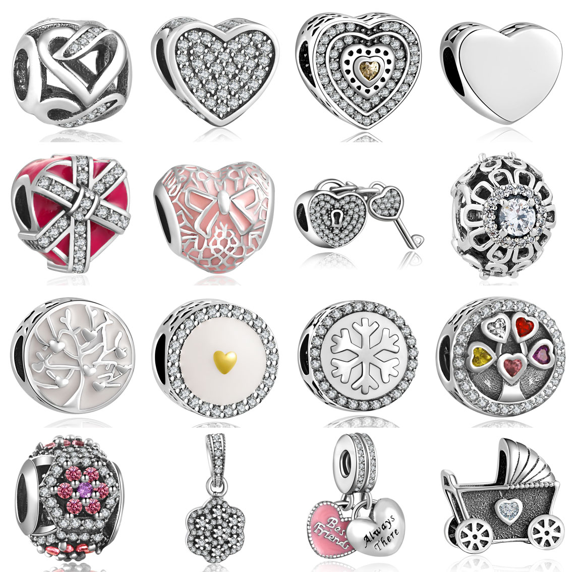 New TOP Quality 925 Silver Charm Beads with Full Crystal Fit Original Pandora Bracelet Pendants For Women Jewelry