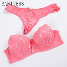 Фотография Alonekiss In 2017 the new high-end luxury bra set, sexy lace lingerie Push up bra Elegant woman pink panty thong underwear suits