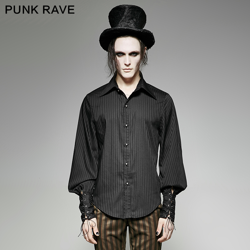 Punk Rave steam punk full sleeve striped font b shirt b font Y 719