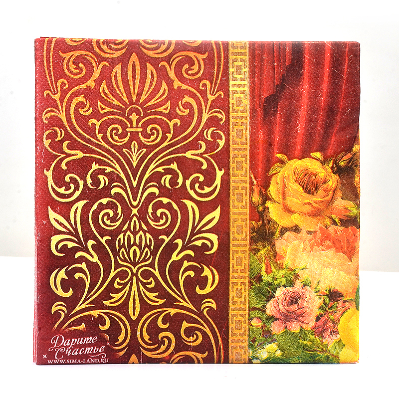 New High-grade Vintage Red Flower Paper Napkins Cafe&Party Tissue Napkins Decoupage Decoration Paper 33cm*33cm 20pcs/pack/lot