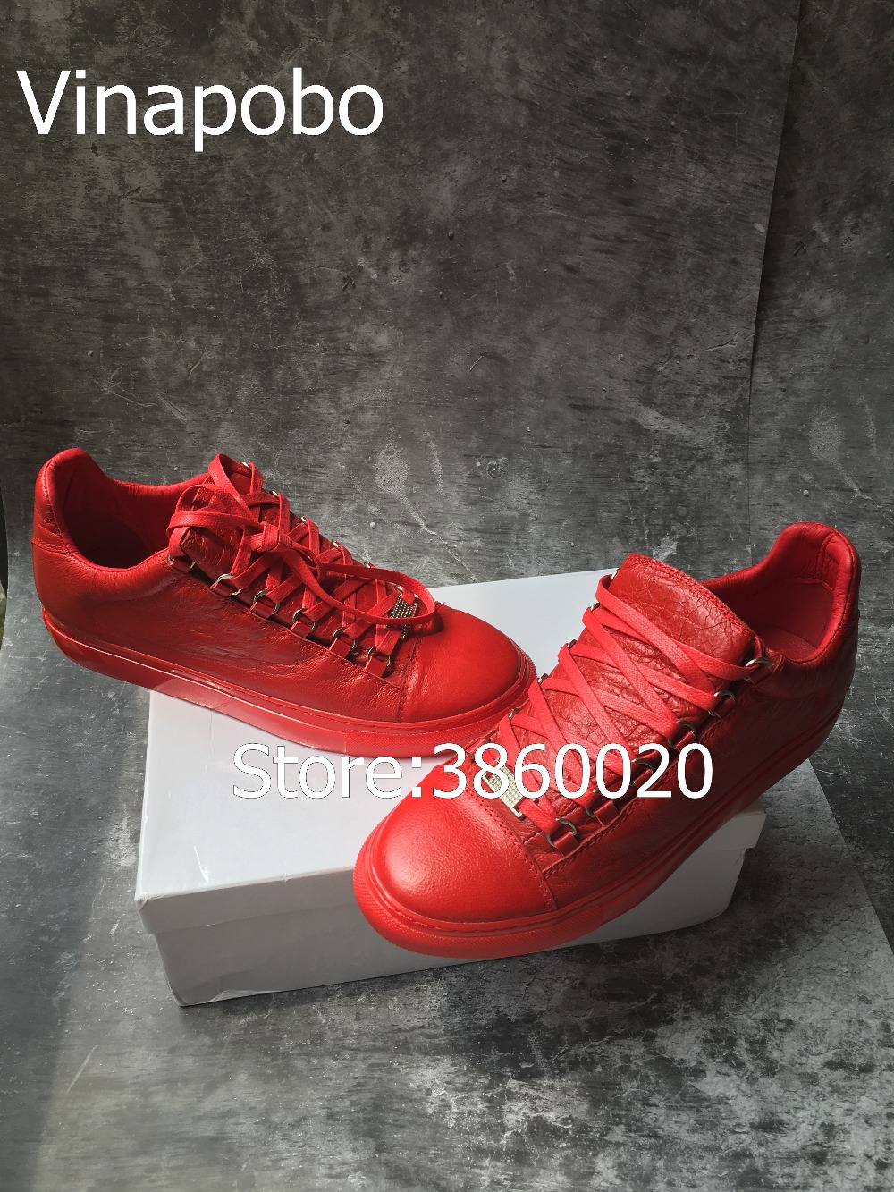2018 Hot Arena Low Top Men Shoes High Quality Red Black White Genuine Leather Men Casual