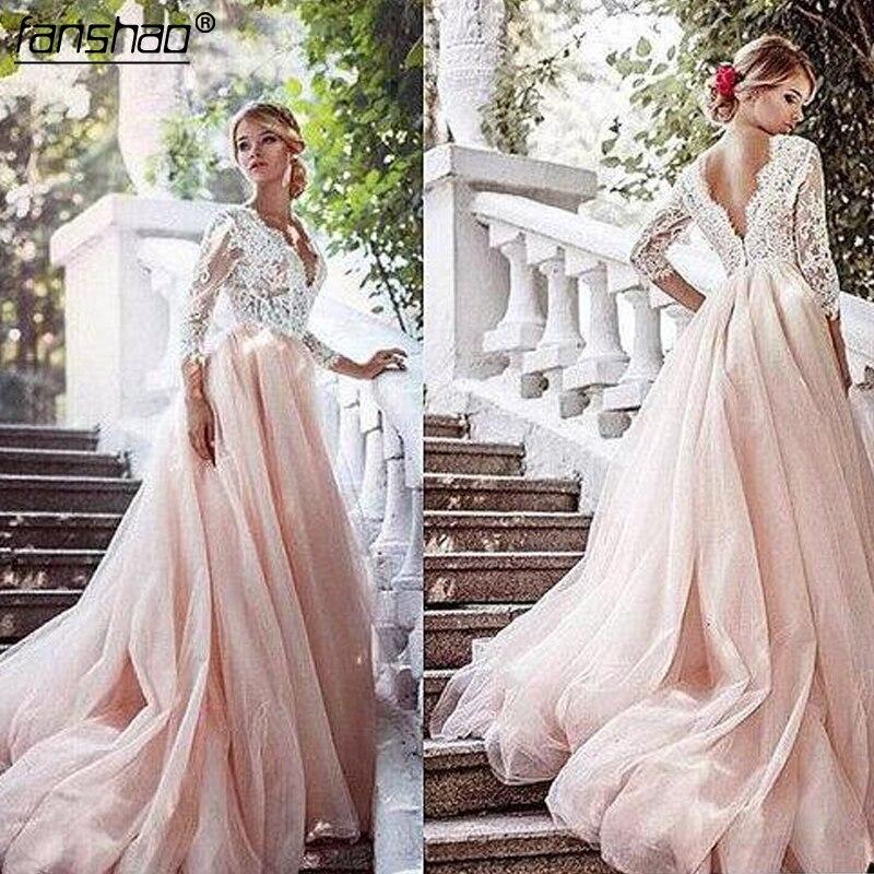 Vestido De Noiva 2019 Muslim Wedding Dresses A-Line Appliques Lace Beaded Illusion Boho Dubai Arabic Wedding Gown Bridal