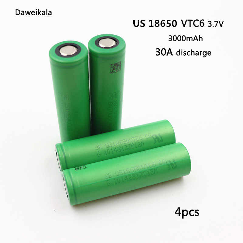 Daweikala 4pcs/Lot For VTC6 3.7V 3000mAh 18650 rechargeable battery for Electronic Cigarette us18650 vtc6 30A Lantern Toys Tools
