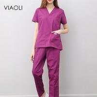 Viaoli Women And Men Medical Uniforms Nursing Scrubs Clothes Short Sleeve Coat Doctor Clothing Brush Hand