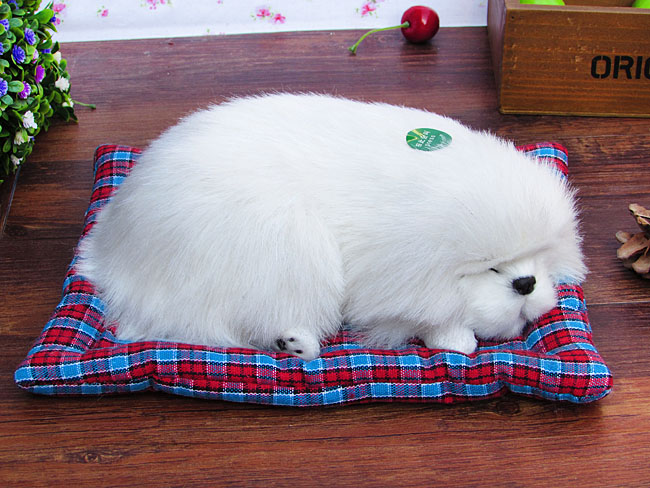 new simulation sleeping dog toy polyethylene fur white dog home decoration about 25x8x20cm