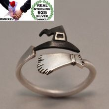 OMHXZJ Wholesale European Fashion Woman Man Party Wedding Gift Silver Witch Hat Broom Open 925 Sterling Ring RR270