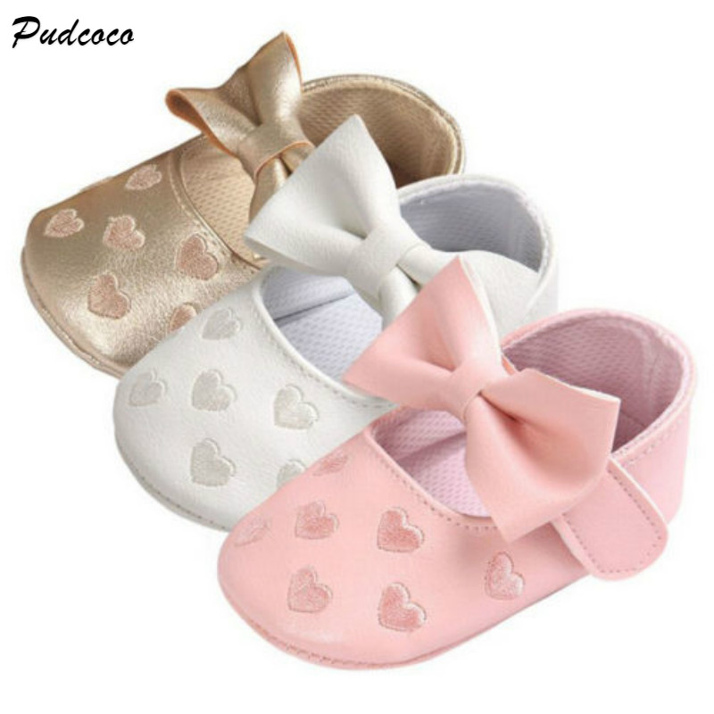 Pudcoco Baby Girls First Walkers Lovely Printed Heart  Newborn Girl Crib Shoes Baby Girls Bowknot Soft Sole Casual Baby Shoes