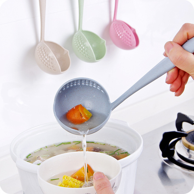Soup Spoons With Colander Wheat Straw Kitchen