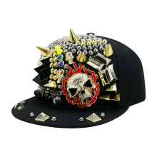 5d4b73367e368 Janvancy Hip Hop Baseball Caps Men Women Rivet Skull Flame Punk Snapbacks  Flat Bone Man Female