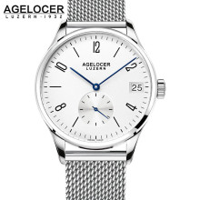 New AGELOCER Sport Watch 6 Hands France Leather Band Montre Homme Military Wrist Watches Mesh bracelet Silver Clock man