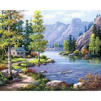 5D Diy Diamond Painting Landscape Scenery Full Square diamond Mosaic Daimond Embroidery Rhinestones Mountains and rivers decor
