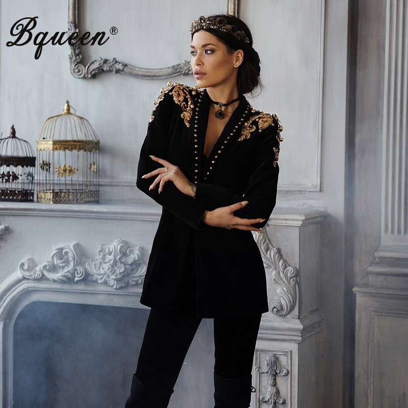 Bqueen Women Fashion Formal Suits Long Sleeve  V Neck Sexy  Rivet Epaulet  Jacket For Lady New 2019
